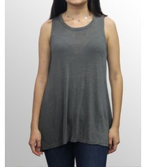 coin 1804 womens rayon slub jersey split button back tank