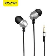 audífonos, q8 super deep estéreo nylon atado con alambre auriculares en el oído del metal para el teléfono reproductores de mp3 3.5mm jack para sony iphone samsung (plata)