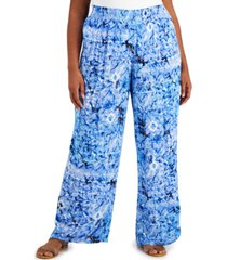 jm collection plus size ariana printed wide-leg pants, created for macy's