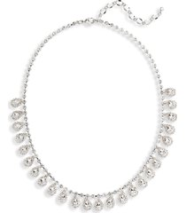 cristabelle crystal teardrop frontal necklace in crystal/rhodium at nordstrom