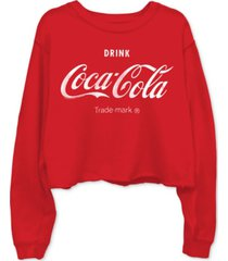 junk food cotton coca-cola-graphic cropped raw-edge sweatshirt