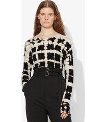 proenza schouler grid tie dye long sleeve t-shirt black/white grid tie dye l
