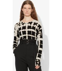 proenza schouler grid tie dye long sleeve t-shirt black/white grid tie dye xs