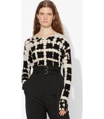 proenza schouler grid tie dye long sleeve t-shirt black/white grid tie dye xs
