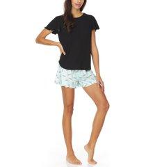 christian siriano new york lagoon ruffled shorts pajama set