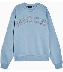 mens nicce blue oversized bower sweatshirt