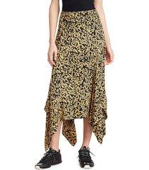 ganni women's print crepe handkerchief midi skirt - egret - size 36 (4)