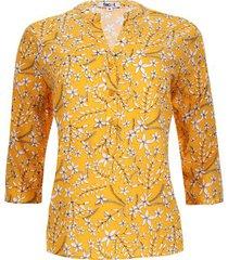 blusa flores manga 3/4 color amarillo, talla xs