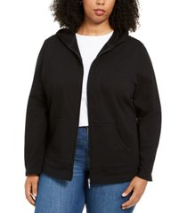 karen scott plus size zip-up hoodie, created for macy's