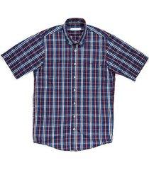 camisa casual manga corta a cuadros regular fit para hombre 97532