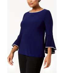 msk rhinestone-trim bell-sleeve top