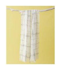 lenço em poliéster e viscose - lenço pantanal cor: branco - tamanho: único