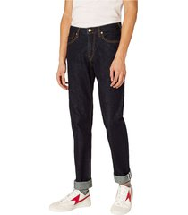 taps toelopende-fit selvedge jeans
