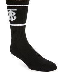 men's burberry monogram stripe crew socks, size large - black