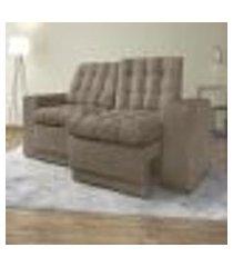 sofá 3 lugares titan assento retrátil e reclinável capucino 2,00m - netsofas