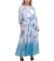 calvin klein plus size floral-print faux-wrap maxi dress