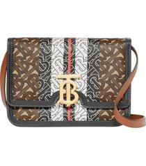 burberry small tb tricolor monogram crossbody bag - brown