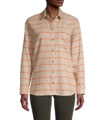 madewell women's ex bf plaid button-down shirt - beige multi - size m