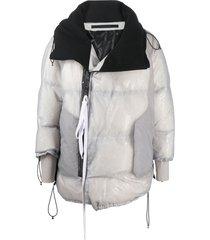 niløs transparent layered down coat - grey