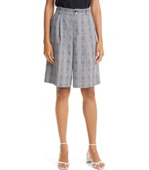 ted baker london mix check tailored knee length shorts, size 2 in black at nordstrom