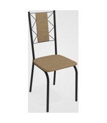 conjunto 4 cadeiras lisboa preto fosco de metal capuccino kappesberg