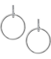 cubic zirconia accent front circle earrings in 18k gold plated sterling silver or sterling silver