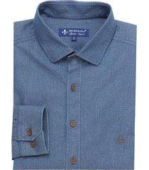 camisa dudalina manga longa medium blue maquinetada masculina (jeans medio, 7)