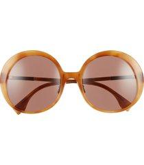 women's fendi 57mm round sunglasses - havana honey/ brown