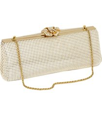 whiting & davis 'crystal flower' metal mesh clutch - ivory
