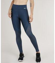 calça feminina legging com recorte texturizado azul marinho
