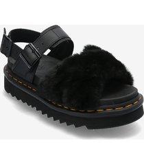 voss ii fluffy shoes summer shoes flat sandals svart dr. martens