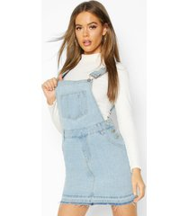 denim dungaree frayed hem pinafore dress, light blue