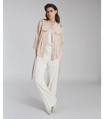 reiss olivia - belted utility jacket in neutral, womens, size 14