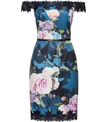 abito a fiori con spalle scoperte e pizzo (blu) - bodyflirt boutique