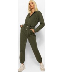 denim twil cargo belted jumpsuit, khaki