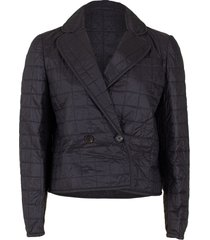 cropped quilted taffeta double breasted coat