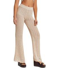 women's river island crochet flare pants, size 10 us - pink