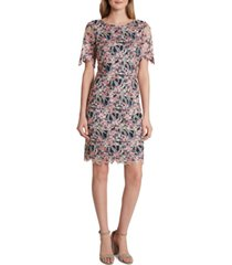 tahari asl allover-embroidered sheath dress