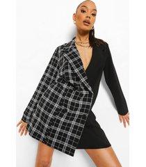 oversized geruite gesplitste blazer jurk, black