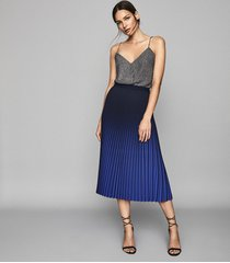 reiss marlie - ombre pleated midi skirt in cobalt, womens, size 10