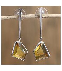 amber dangle earrings, 'modern crystals' (mexico)