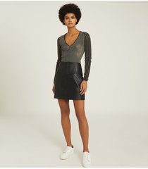 reiss farleigh - leather mini skirt in black, womens, size 14