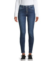 flying monkey women's mid-rise button-fly skinny jeans - blue - size 24 (0)