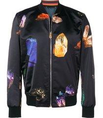 paul smith gem stone print bomber jacket - black