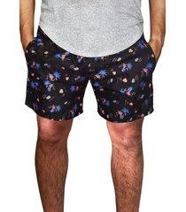 shorts praia estampado masculino microfibra azul com bolsos laterais ref.386.25 ks