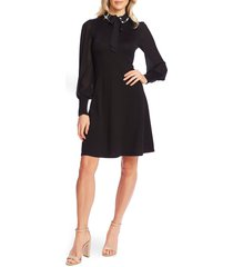 women's cece embellished collar tie neck long sleeve dress