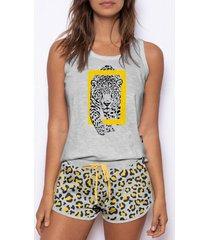 pyjama's / nachthemden admas pyjama shorts tank top wild national geographic grijs