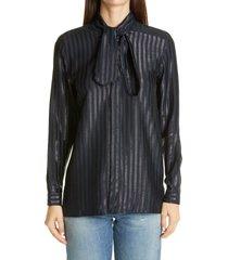 women's saint laurent metallic stripe tie neck silk blend blouse, size 10 us - blue