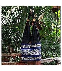cotton handbag, 'elephant blues' (thailand)