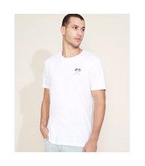 "camiseta masculina relax in paradise"" manga curta gola careca branca"""